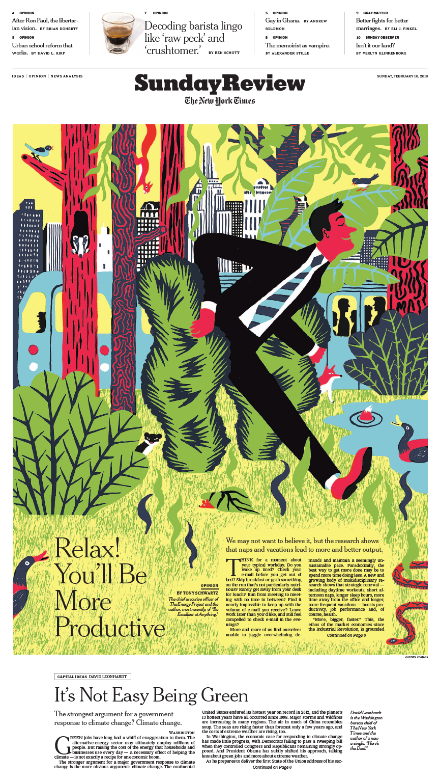 Sunday Review Cover: Relax! You'll Be More Productive